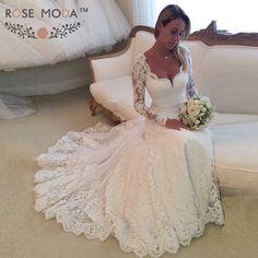Find More Wedding Dresses Information about Elegant Long Sleeves Lace  Mermaid Wedding Dress Illusion Back Bridal c0cd8b7f6909