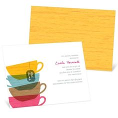 Bridal Shower Invitations -- Tea Party. Invite the ladies for tea with these bridal shower invitations and create a classic bridal shower theme that works equally well for a brunch or afternoon party.