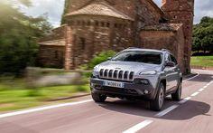 movement, road, 2016, Jeep Cherokee TrailHawk, speed, SUVs, silver Cherokee