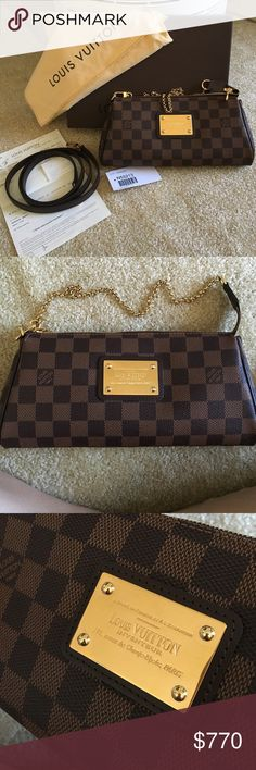 Louis Vuitton Eva (damier ebene) No Trades!! PPD$720 - Excellent new condition!! Used for one night only (the day I purchased it). Comes with everything You see in picture: box, dustbag, strap, tag (minus the receipt due to personal information). date code is MB1194. P preferred!!! Louis Vuitton Bags Crossbody Bags