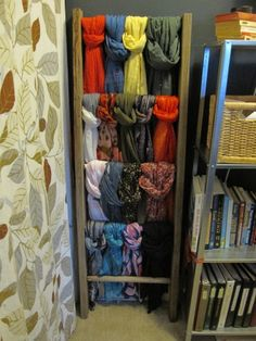 Show off your finished shawls and scarves with a ladder. #knit # crochet