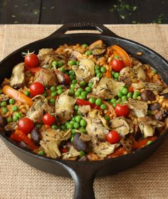 Vegetable paella: This hearty meat-free paella is light on the oil and heavy on the vegetables. An assortment of mushrooms, artichokes, bell peppers, onions, tomatoes, and peas offer texture and flavor to the famous Spanish one pot meal.