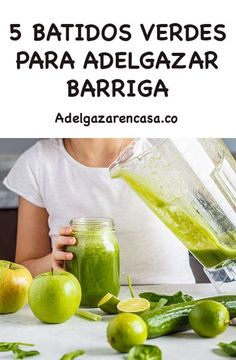 5 Batidos verdes para adelgazar la barriga Healthy Juice Recipes, Healthy Juices, Detox Recipes, Healthy Foods To Eat, Healthy Drinks, Smoothie Recipes, Smoothie Detox, Juices To Loose Weight, Detox Verde