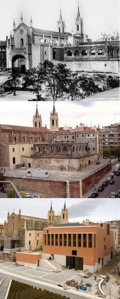 """Iglesia de San Jerónimo el Real (Los Jerónimos) - La foto superior corresponde a 1929. - El """"pegote"""" (2007) de la foto inferior corresponde a una ampliación del Museo del Prado y encierra el claustro."""