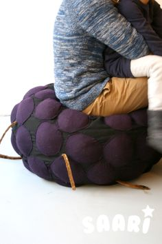 Saari_Blackberry. Kids furniture. Pouffe. Designed by Veronica Lassenius ,  handmade by Soffan Verhoomo.