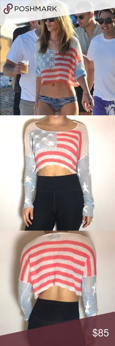 WILDFOX White Label Flag Crop Top WILDFOX White Label Flag Crop Top. -Size XS. -Like new! -Worn by many celebrities including Katy Perry and Rosie Huntington.   NO Trades. Please make all offers through offer button. Wildfox Tops Crop Tops