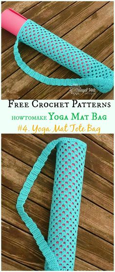 Yoga Mat Tote Bag Free Crochet Pattern - Mat Bag Free Patterns by janice Crochet Diy, Crochet Crafts, Crochet Projects, Bag Pattern Free, Tote Pattern, Yoga Bag Pattern, Crochet Shell Stitch, Crochet Stitches, Knitting Patterns