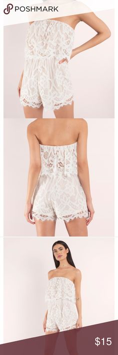 """Tobi """"Maritza White Lace Romper"""" The """"Maritza White Lace Romper"""" from Tobi in a size small. This is a fun fact about me: I absolutely loathe paying for shipping, I refuse to pay for it. I will add stupid things I don't want into my cart to avoid paying like $5-$10 for shipping lol. That's what I did for this order. I wanted a dress but added in this romper which I didn't want in the first place to reach enough for shipping. I still don't want it and want to get rid of it. I wore it for half…"""