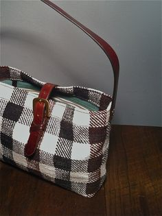 Women's Vintage Fabric & Leather Handbag. 100% vintage materials.  Crafted in USA by Green Garage Studio.