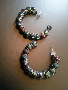 Black Oil Slick Wire Wrapped Earrings by Naps on Etsy