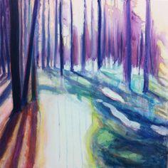 Skog. Forrest. #alicemurray #trees #forrest #art #artist #acrylic #canvas #color #artigram #artistsofinstargam #artogram #arthistory #sandhamn #Sweden #archipelago #stockholm #paint #painting #pink #saatchiart #saatchi #gallery #whatimworkingon #watercolor #sun #shadow #spirituality #space #woods #pine #lilac #2015