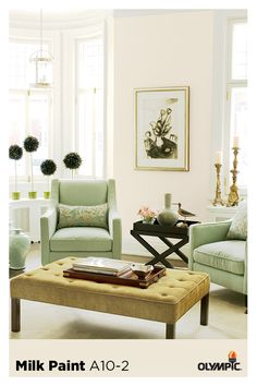 Create a sense of space and sophistication, with a feeling of freedom and uncluttered openness using white paint color Milk Paint by Olympic® Paints and Stains. Off White Paint Colors, Off White Paints, Condo Living, Home Living Room, Olympic Paint, Wood Stain Colors, Girl House, Small House Design, Decoration