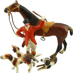 Antique Bronze Hunt Figurine Fox Hunting Scene Rider Horse & Hounds Equestrian Interest #VintageSports  #rubylane