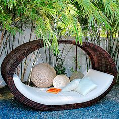 This would be perfect in my back yard.  It's weatherproof and sleeps two.  What a way to spend a warm summer night!