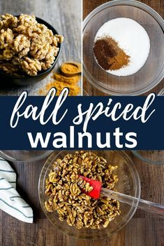 These crispy fall spiced walnuts are toasted and covered with a light and crispy sugar coating full of fall spices like cinnamon cloves and nutmeg get you ready for the holidays! Gluten Free Appetizers, Best Appetizers, Appetizer Recipes, Snack Recipes, Dessert Recipes, Vegetarian Appetizers, Thanksgiving Appetizers, Christmas Appetizers, Cooking Recipes