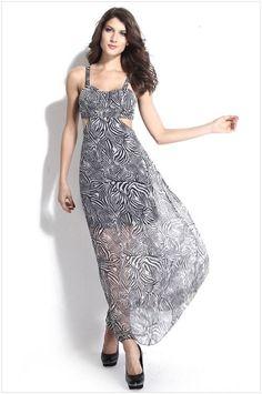 Charm Gray Zebra Stripe Open Back Sexy Square Side Open Chiffon Party Maxi Dress #Unbrand