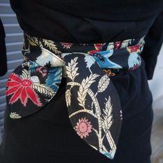 f1b0d39075e3 Ceinture obi style ceinture japonaise de kimono en coton réversible noir -