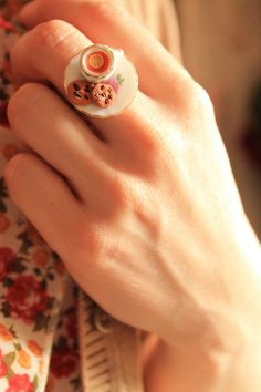 Teacup ring, miniature food ring, tea cup ring, kawaii food ring, mini food ring.