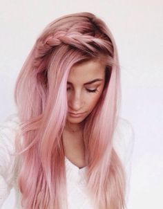Pink hair with braid, pretty! #coloredhair