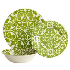 "Trellis Dinnerware - Green.  Dinner Plate 10½"", Salad 8½"", Cereal Bowl 7½"" x 2"" deep.  Sold individually, $6.00 to $7.00 per piece.  From Pier One Imports"