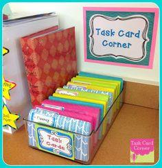 Task Card Corner: Task Card Storage Organization, has links to buying task cards for math literacy Classroom Organisation, Teacher Organization, Classroom Setup, Teacher Tools, Future Classroom, School Classroom, Teacher Resources, Storage Organization, Classroom Management