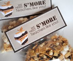 S'mores printable teacher cards from Lisa Kay Designs. We'd fill the bag with a couple of graham crackers, some marshmallows and some chocolate minis!