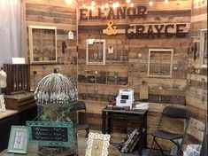 window wall of vanity room-peel and stick wallpaper and jewelry frames Vendor Displays, Craft Booth Displays, Booth Decor, Vendor Booth, Store Displays, Display Ideas, Boutique Displays, Retail Jewelry Display, Wood Jewelry Display