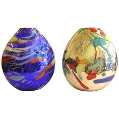 Davide Dona Sculptural Mirrored Blue and Silver Gold Colored Murano Glass Vases