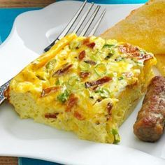 Bacon and Eggs Casserole Recipe - festive enough for company with colorful chopped bell peppers added