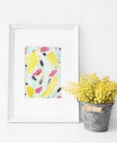 Download this beautiful and unique abstract floral Hand Painted Watercolor Printable for Free