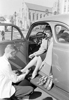 Drive-in de reparación de calzado, 1938. Alfred Eisenstaedt