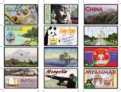 Use free country stamps to learn about countries around the world