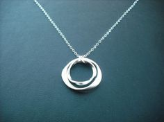 matte double twisted circle hoop necklace  white by Lana0Crystal, $18.00