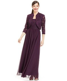 R&M Richards Plus Size Glitter Lace Empire-Waist Gown and Jacket