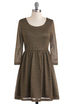 Bronze in the Family Dress - Short, Solid, Party, A-line, Long Sleeve, Fall, Bronze, 90s, Holiday Party, Cocktail, Sheer
