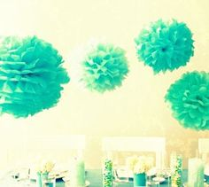 Tissue Paper PomPoms - these were a BIG hit at our baby shower.  Ours were bought, but we realized they'd be easy to make.  And they are.