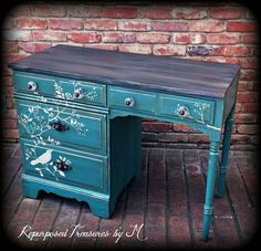 Check out this item in my Etsy shop https://www.etsy.com/listing/278121784/vintage-desk-stenciled-desk-distressed