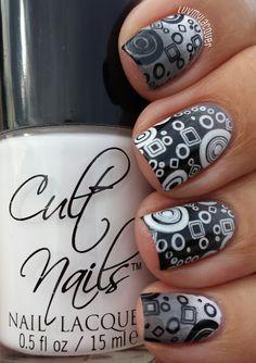 black & white nails - stamping nail art