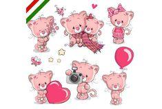 Set of Cute Cartoon Kitten Royalty Free Vector Image Owl Cartoon, Cute Cartoon, Kids Cartoon Characters, Blue Nose Friends, Unicorn Art, Cute Teddy Bears, Background Patterns, Clipart, Cute Drawings