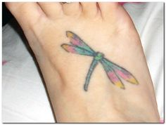 Image result for Dragonfly Tattoos On Foot