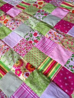 Beautiful pink and green handmade quilt for sale on eBay- it just sold ! But I'm in the process of making another one! Check back soon!