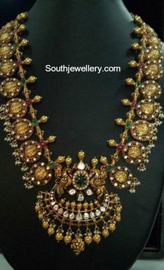 22 carat gold antique Ram Sita kasu haram adorned with flat diamonds, rubies, emeralds and pearls by Anantham by Praveena Tipirneni Ruby Jewelry, India Jewelry, Temple Jewellery, Gold Jewelry, Diamond Jewellery, Jewlery, Gold Earrings Designs, Necklace Designs, Gold Designs