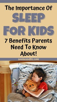 Teaching kids the importance of sleep is beneficial. Here are 7 facts about the benefits of sleep for school aged children. Share these benefits with your child so they can learn how sleep can affect their development! Sleep Help, Kids Sleep, Good Sleep, Baby Sleep, Mindful Parenting, Good Parenting, Parenting Hacks, Parenting Teenagers, Teaching Kids