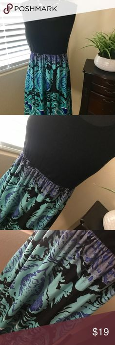 """🌺Little Dress By She Her Size 1X🌺🌺 Another Beauty by She Her, Size 1X, black top and gorgeous teal black skirt, Polyester/Spandex, hand wash.  Bust 40"""",Waist 30"""" in stretched, 48"""" stretched, Length 36""""🌺🌸🌺 She Her Dresses Mini"""
