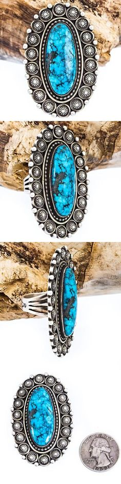 Native American pre-1935 165137: A+ Calvin Martinez Natural Blue Diamond Turquoise Ring Ingot Silver Sterling 9 -> BUY IT NOW ONLY: $571.87 on eBay!