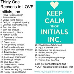 Thirty One Reasons to Love Initials, Inc! www.myinitials-inc.com/ashley-y