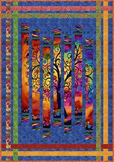 This stunning fractured quilt is strip pieced using a panel of the gorgeous Fantasia fabric. Strip piecing is an easy technique for making quick quilts. Th