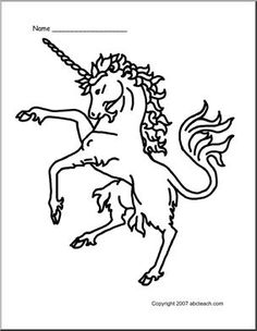 Coloring Page: Medieval Unicorn - preview 1