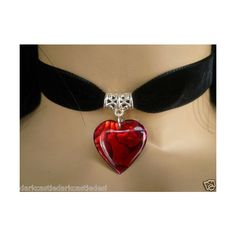 black velvet choker/ necklace red paua shell heart pendant goth found on Polyvore featuring polyvore, women's fashion, jewelry, necklaces, red choker necklace, heart shaped necklace, red necklace, heart pendant necklace and shell necklace