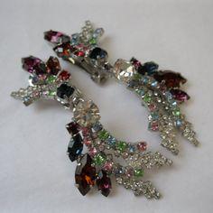 Vintage 1960s Multicolored Chandelier Earrings